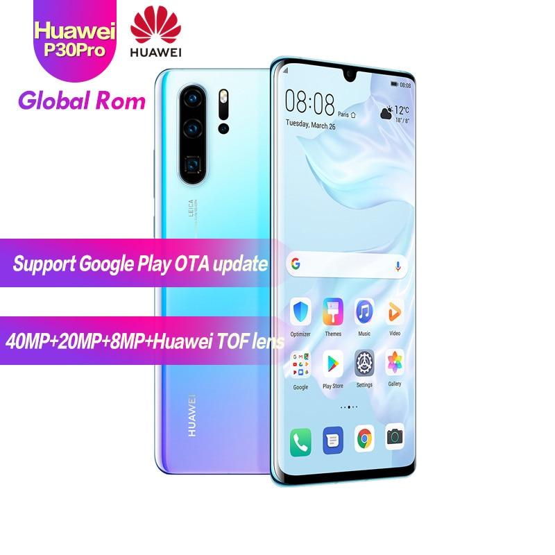 "Versión Global Original Huawei P30 Pro 8G + 256G móvil teléfono Kirin 980 Android 9,1 De 6,47 ""OLED 2340X1080P IP68 NFC 5 cámaras 40MP"
