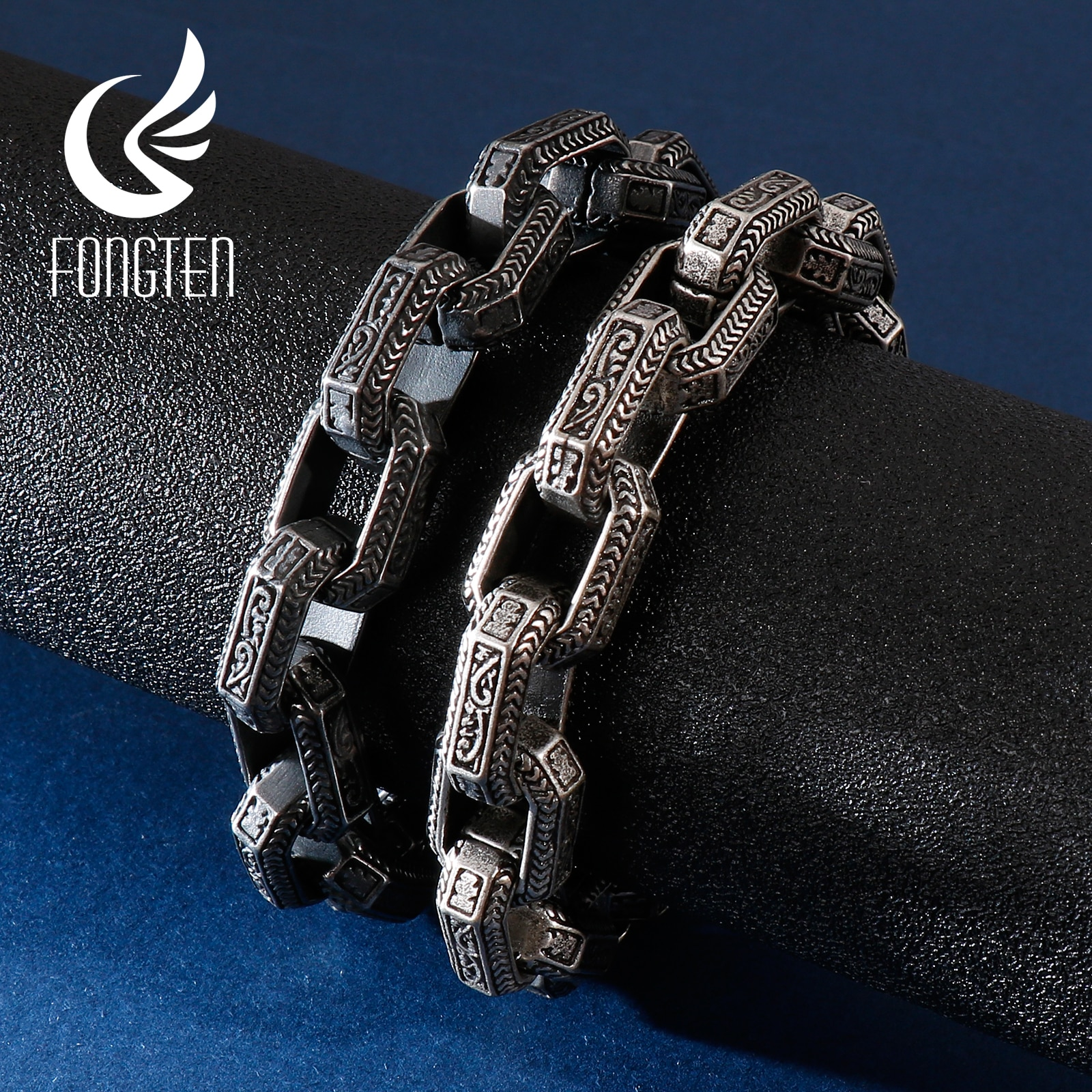 Fongten Vintage Square Bead Bracelet Men Black Stainless Steel Viking Punk Charms Heavy Bracelets Fashion Jewelry