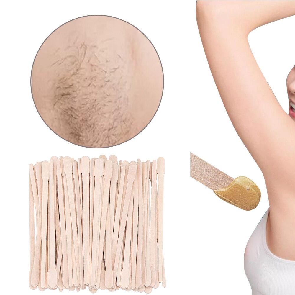 Palillo de depilación de madera desechable 100 Uds., herramienta de cera para limpiar granos, herramienta de depilación desechable, barra de belleza, herramientas de belleza para el cuerpo, triangulación de envíos