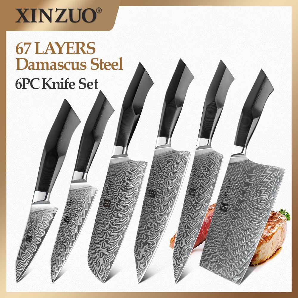 XINZUO 6 قطعة مطبخ الشيف السكاكين مجموعة VG10 الأساسية الطبيعية دمشق الأوردة الصلب عالية الكربون أفضل حاد قطع اللحوم سكينة للطبخ مجموعة