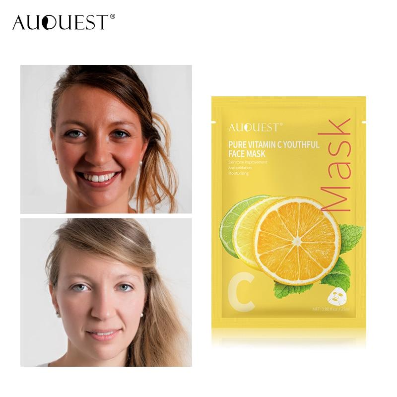 Pure Vitamin C Sheet Mask Brightening Skin Fade Black Dark Spot Detox for Glow Skin Whitening VC Serum Mask Antioxidant Care