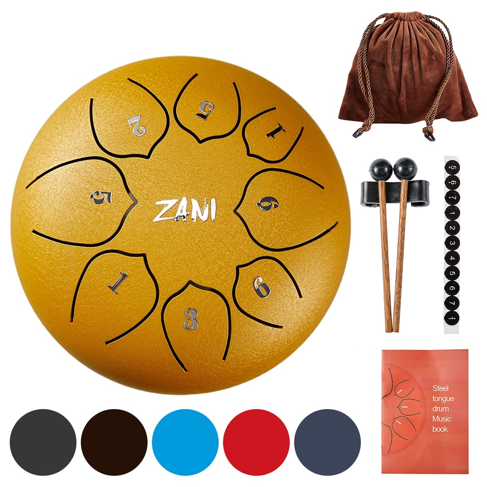 6 Inch 8 Tune Steel Tongue Drum Tounge Percussion Musical Instrument A Key Five Tones Meditation Drums Hand Pan