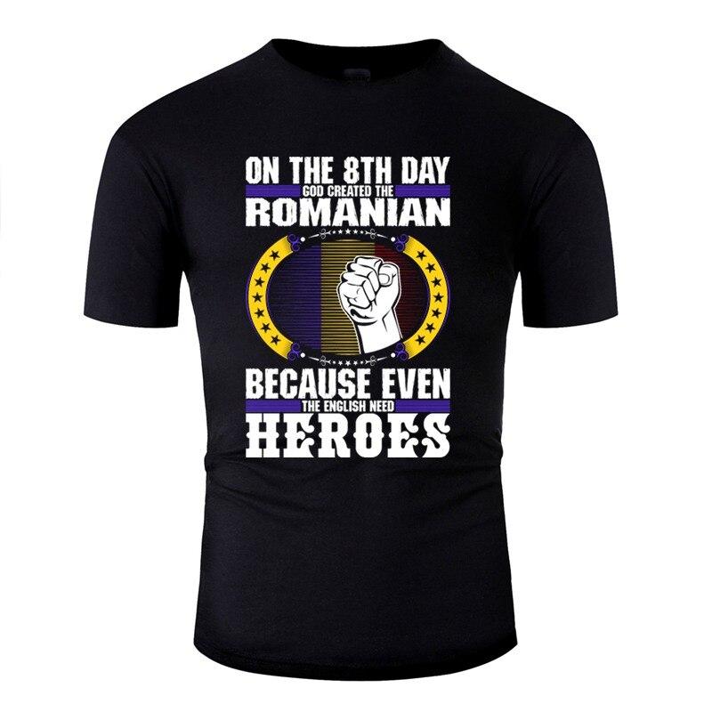 Funny God Created La camiseta rumana hombres algodón mujeres Camisetas cuello redondo Camisas