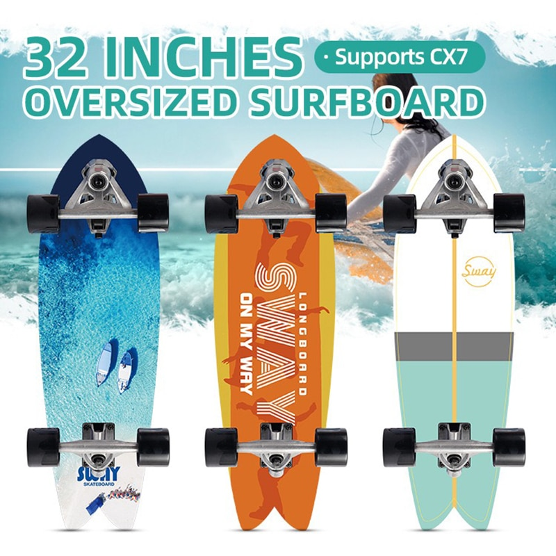 32'' Surf Skate Board Large Maple Deck CX7 Truck Complete Surfskate Skateboard Outdoor Sport Surfing Cruiser Board Longboard