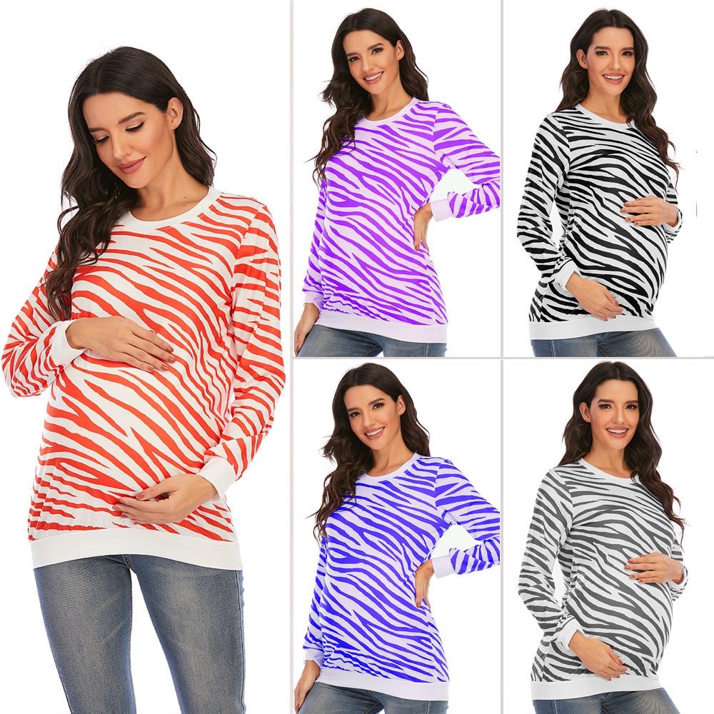 Maternity Digital Print Round Neck T-shirt 2021 New Long-Sleeved T-Shirt For Pregnant Women Maternity Wear Long-Sleeved Tops