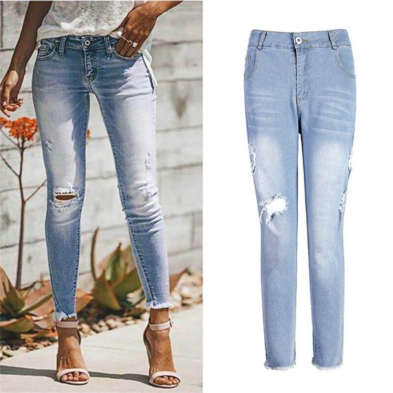 Модные женские джинсы, новинка 2021, женские брюки, европейские рваные Эластичные Обтягивающие джинсовые брюки-карандаш с дырками, брюки, лет...