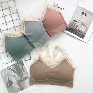 New Style Thread Bear Lace Camisole Wrap-around Vest GIRL'S Underwear No Steel Ring Tube Top Anti-Exposure Sports Brassiere