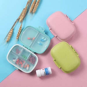 8 Grids Pill Box Splitter Medicine Holder Tablet Box Wheat Straw Cod Liver Oil Bottle Candy Box Health Care Products Holder