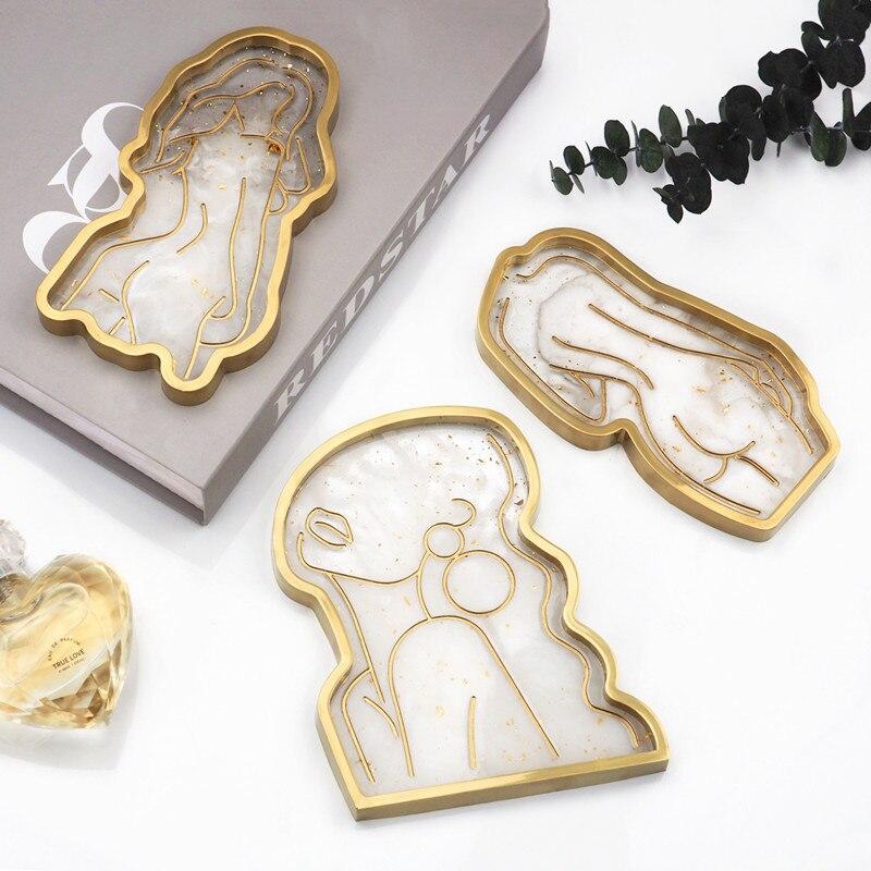Хрустальный поднос-форма для литья под давлением для девочек модель тела абстрактные пластина зеркала заднего вида лоток силиконовые форм...