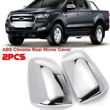 Couvercles de rétroviseurs extérieurs de porte Ford   2 pièces, protection latérale du rétroviseur pour Ford 2012-2016 Ranger aile latérale de porte, accessoires de protection chromés pour le stylisation de voiture