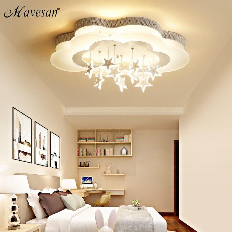 Weiß Sterne Led Decke Lichter Für Kind Zimmer Schlafzimmer Neue Acryl mond stern Eisen Körper Moderne Fernbedienung Lampe Beleuchtung