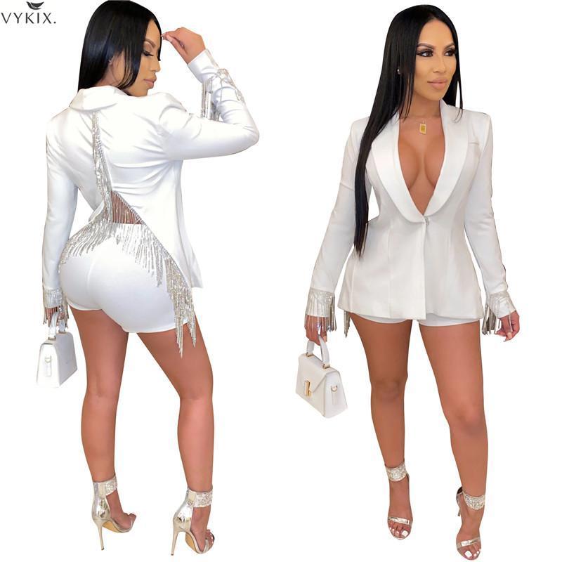 Women Two Piece Outfits Long Sleeve Tassel Back Blazers Shorts Suit Two Piece Set Office Women Outfits Uniform 2 Piece Set Women