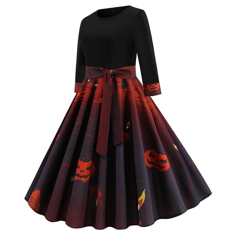 Mujer otoño media manga talla grande vestidos cuello redondo naranja negro vestidos Halloween fiesta calabaza vestido impreso