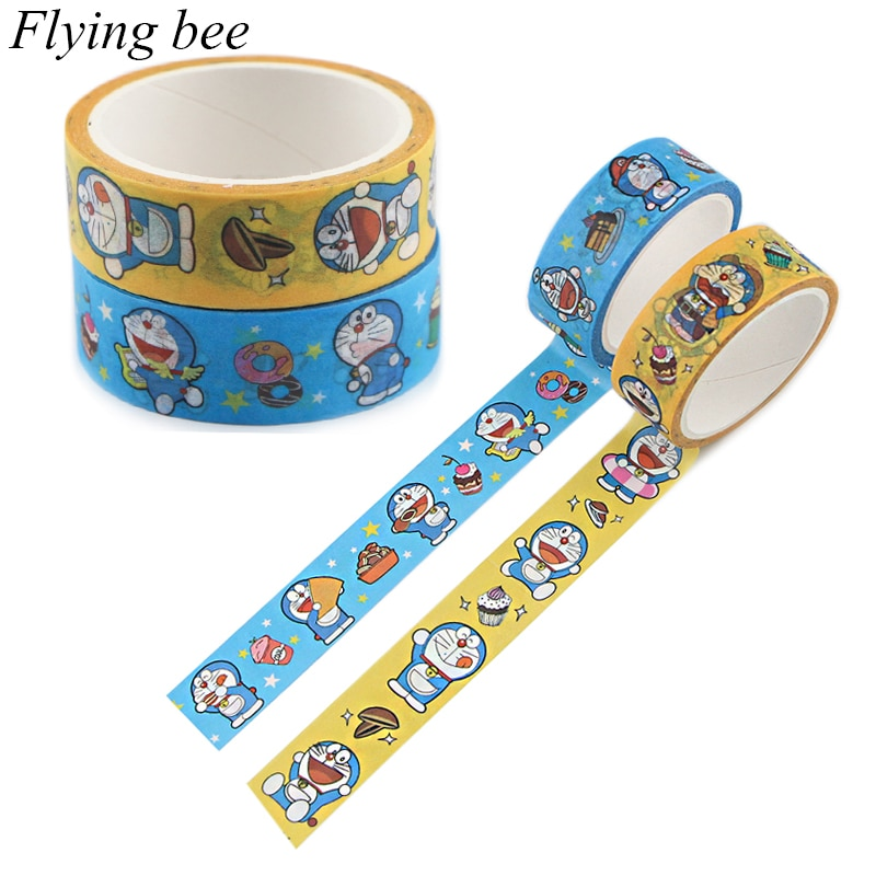 Flyingbee 15mmx5m papel washi fita bonito dos desenhos animados diy scrapbooking etiqueta fita adesiva x0891