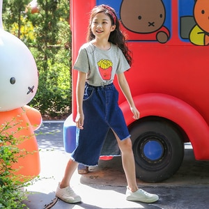 6 To 16 Years, Fashion Girls Denim Skirt Mommy and Daughter Clothes Teen Jean Skirt Asymmetrical Design Coton 2021 Summer,#6137