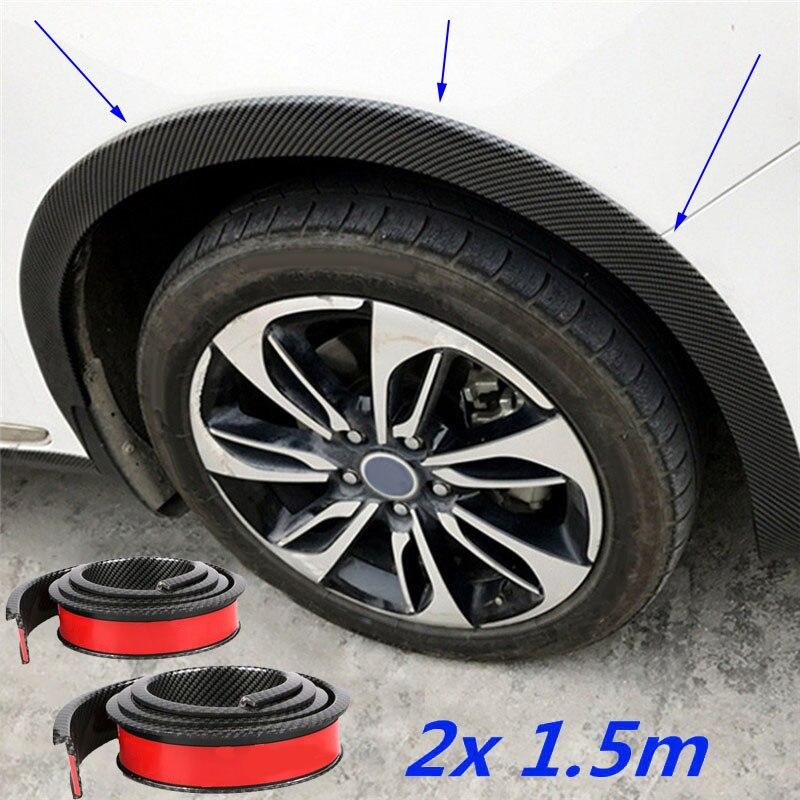 Fibra de carbono negro Anti-scratch rueda arco Trim adhesivo cinta Protector goma coche guardabarros camión