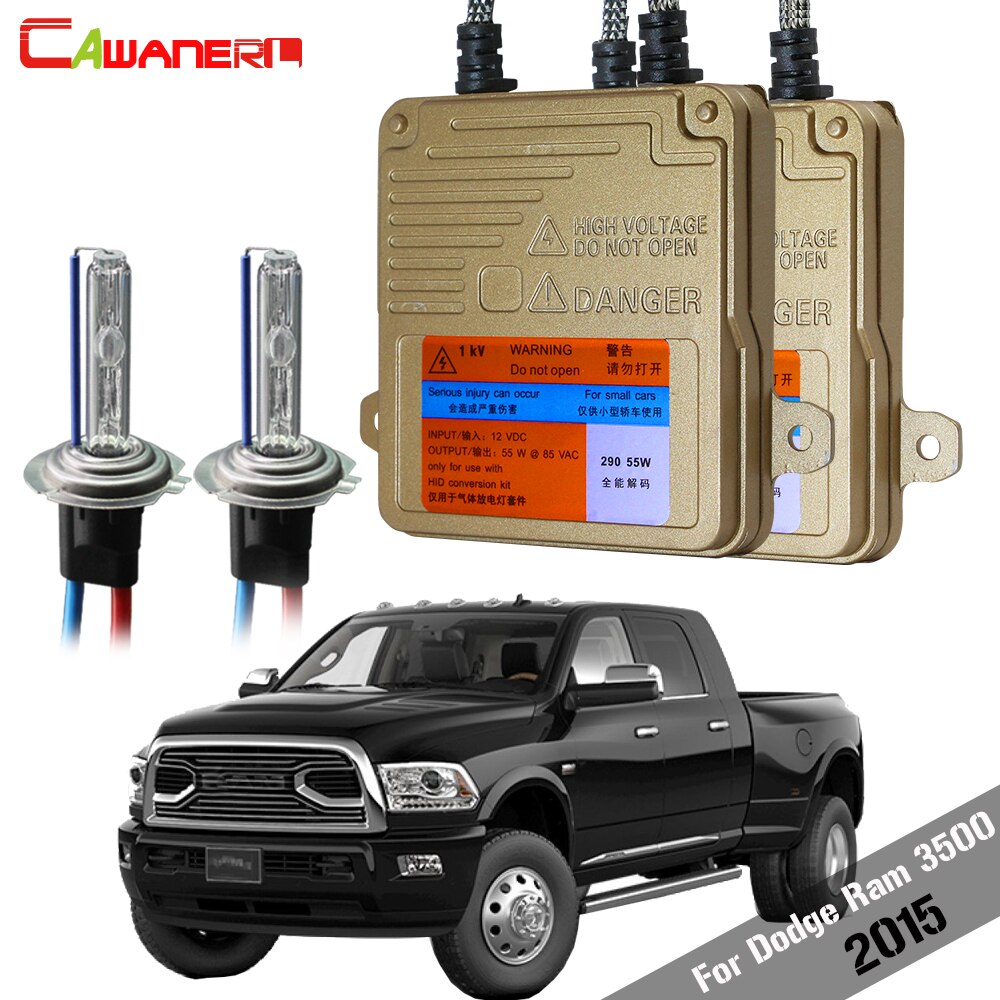 Cawanerl For Dodge Ram 3500 2015 55W Car No Error Ballast Bulb Canbus HID Xenon Kit High Bright Auto Headlight 3000K-8000K