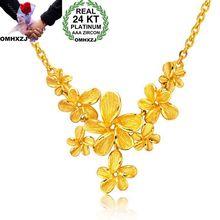 OMHXZJ Wholesale European Fashion Woman Girl Party Wedding Gift Flower 24KT Yellow Gold Pendant Neck