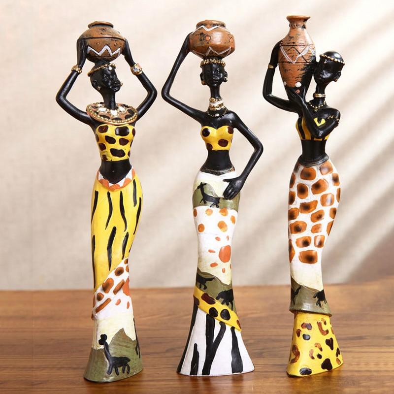 Figuras de Resina de Escultura de Personagem Decoração de Mesa para Casa Estátua Africano Feminino Artesanal Crianças Brinquedos Presentes Aniversário