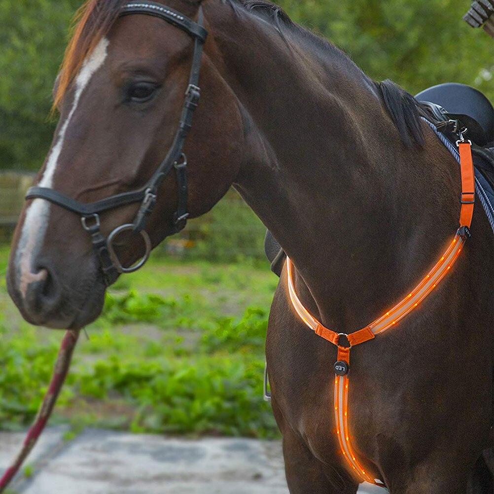 Collar de pecho de caballo LED tachuela de alta visibilidad para montar a caballo engranaje de seguridad ajustable Collar de caballo cinturón de pecho #20
