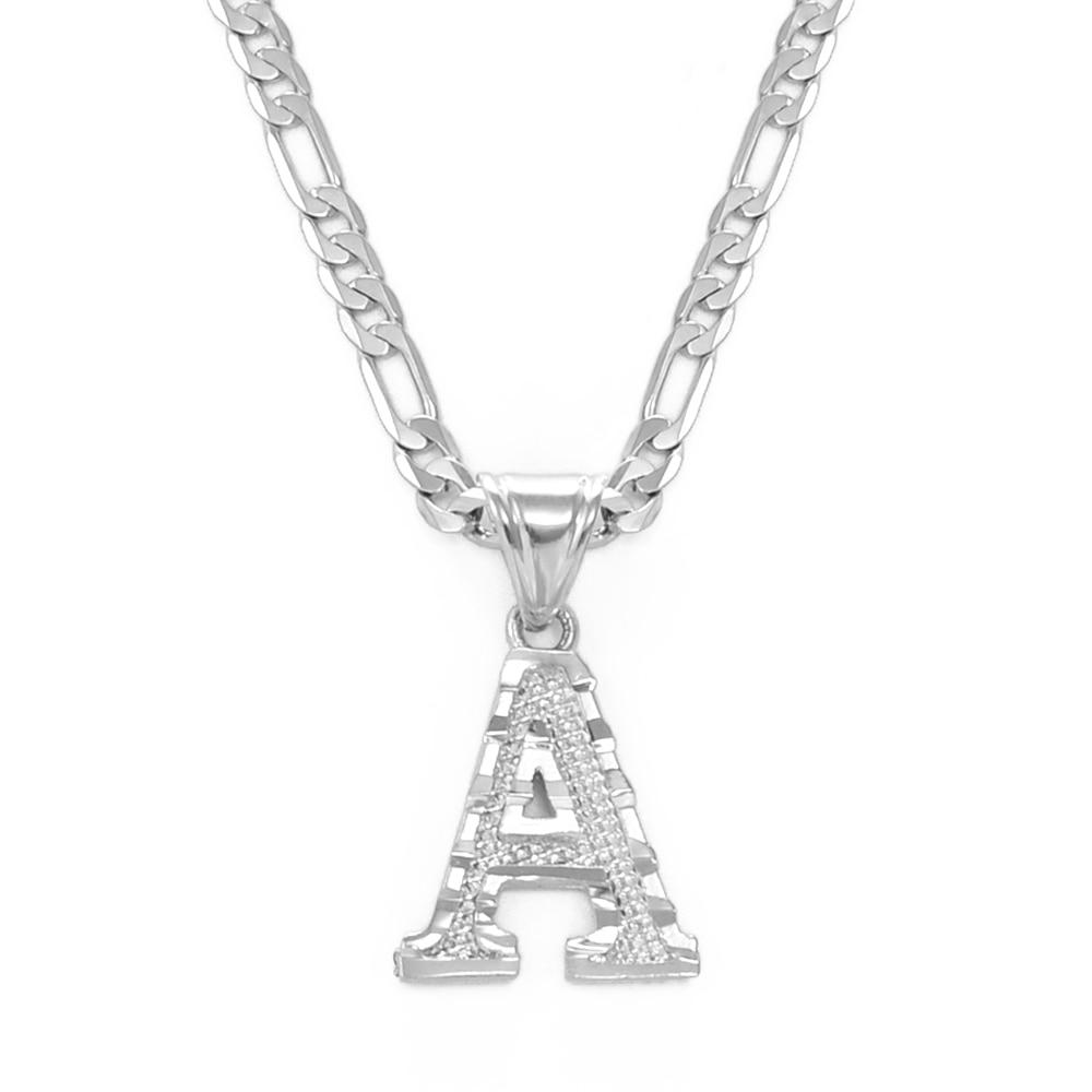 Anniyo prata cor A-Z letras pingente colares para mulheres masculino meninas inglês alfabeto inicial figaro correntes jóias # 058002d
