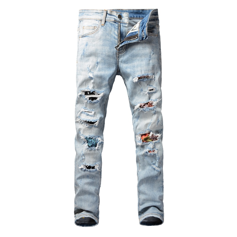Европейские и американские уличные модные мужские джинсы в стиле ретро светло-голубые зауженные рваные джинсы мужские дизайнерские джинсы...