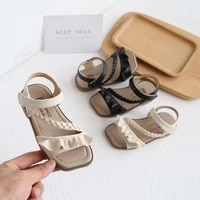 kids elegant sandals new fashion summer girls children pu pleated comfortable rubber beach princess sandal toddler baby shoes