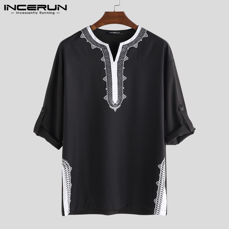 new african tranditional long loose dress vintage hippie dashiki caftan ethnic indian INCERUN 2021 Men Tops African Dashiki T Shirts Print Long Sleeve V Neck Loose Ethnic Style Casual T-shirts Men African Clothing