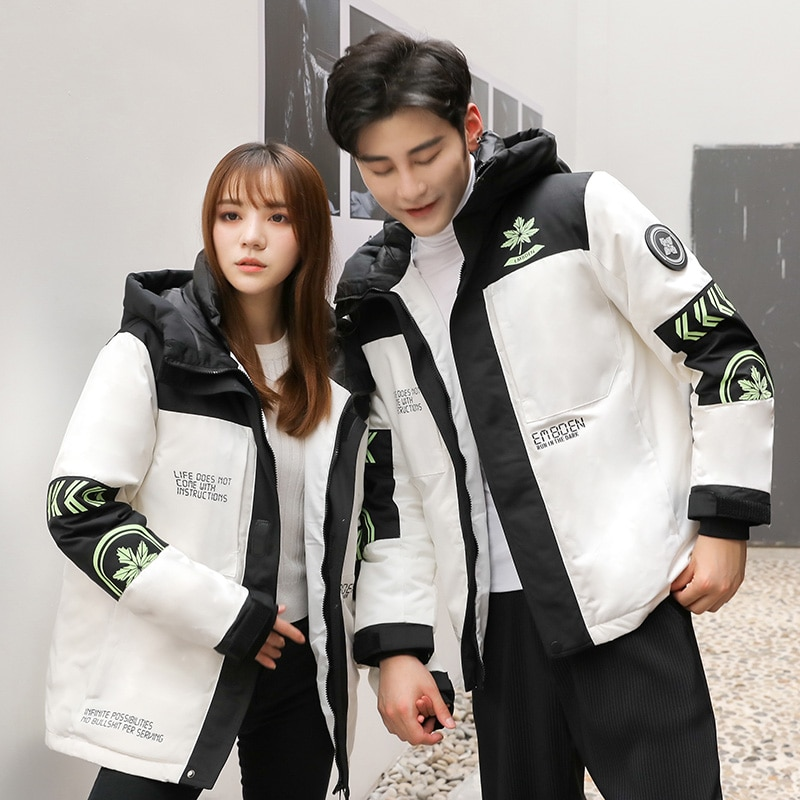 Фото - Embroidered hooded down jacket men and women trendy jacket lovers style tooling winter thick down coat warm jacket covrlge trendy hooded men s white duck down jacket stand collar embroidered down jacket men winter warm causal coat us mwy034
