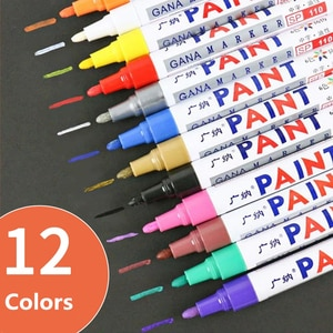 12 Colors Set Waterproof Permanent Oily Paint Marker Pen Car Tyre Tires Tread CD Mark Metal Wood School Art Graffiti Stationery