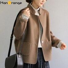 2020 minimalistyczny styl 100% wełny dwustronny płaszcz kobiety kokon garnitur wełniany płaszcz