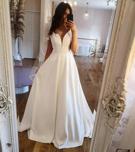 A-Line Wedding Dress 2021V-Neck White Satin Lace Appliques Bridal Gown Court Train Robe De Marie Bridal Gown With Pocket Cheap