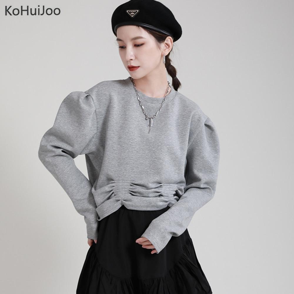 Женский короткий Свитшот KoHuiJoo с круглым вырезом, плиссированный пуловер с длинным рукавом, свободная модная уличная одежда для девушек, осе...