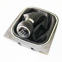 Elishastar alta qualidade 6 velocidade manual de couro do plutônio botão de mudança de engrenagem para golfe 6 mk6 jetta5, 6 1kd711113a 1kd 711 113a 2004-2015