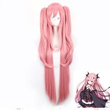 Anime Seraph of the end cosplay Krul Tepes peluca alta calidad adulto Rosa 100cm ropa femenina accesorios peluca Linda kawaii femenina