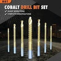 6pcsset 3 8mm cobalt drill bit set hss high drill bit saw set metal wood drilling hole tools drill titanium coated woodworking