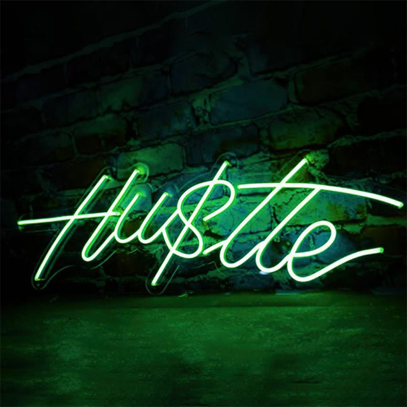 OHANEONK HUSTLE LED Neon Sign Light for Wall Art Decorative Hanging Signs  Bedroom Room Party Home Christmas Decor Night Light enlarge