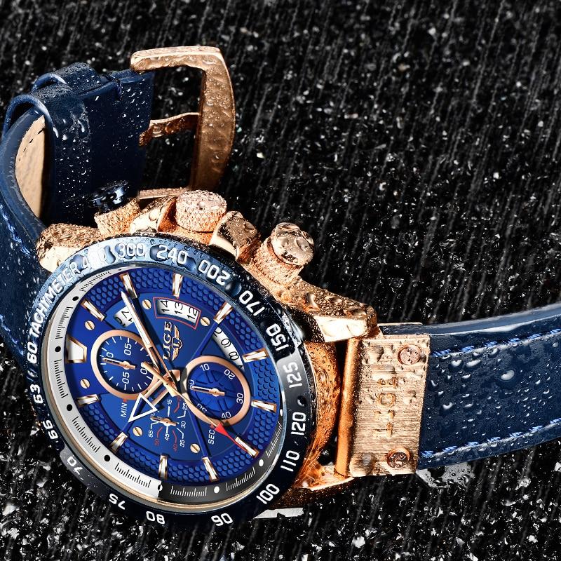 LIGE-ساعة رياضية جلدية للرجال ، ساعة يد رجالية ، كاجوال ، زرقاء ، عسكرية ، كرونوغراف ، 2020