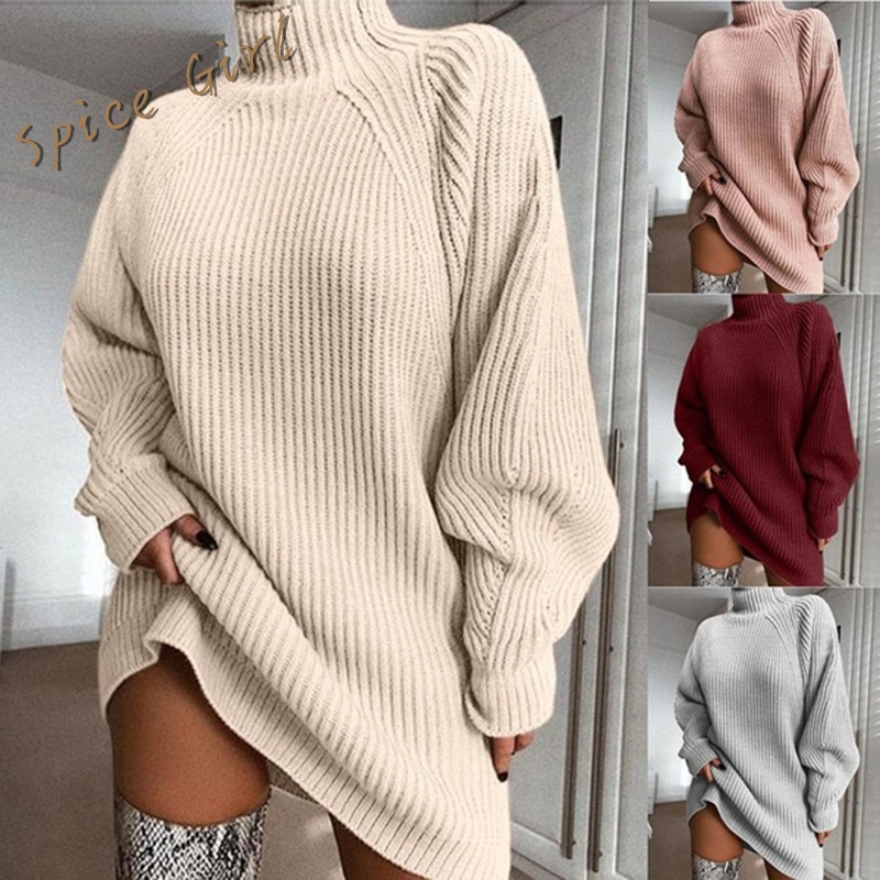 Women Turtleneck Knitted Sweater Dress Autumn Winter Long Sleeve Woman Sweaters Dress Oversized водолазка женская свитер женский