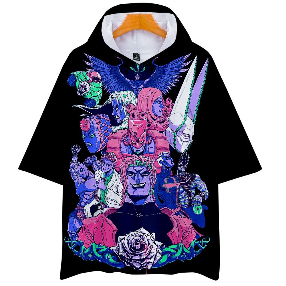 Negro Harajuku 3D JOJO con capucha camisetas hombres mujeres verano manga corta con capucha camiseta Casual niños niñas 3D JOJO camiseta superior