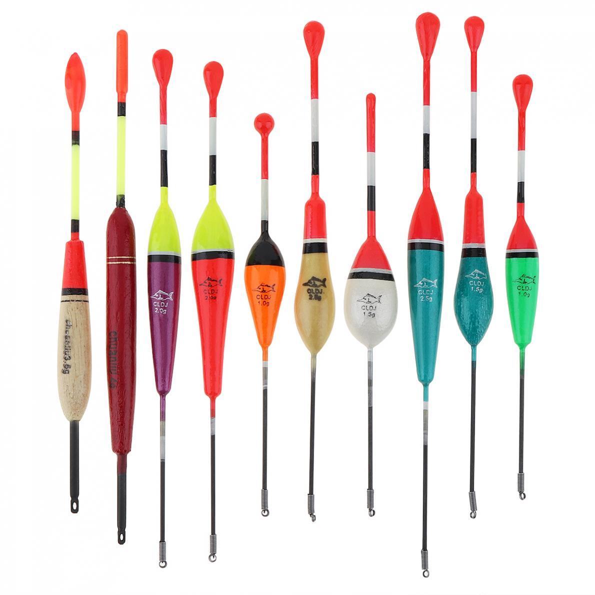 10 unids/lote de boya flotante de conjunto de flotador de Pesca de colores Balsa de 14,3 cm-20,1 cm para lagos de roca pesca en embalse