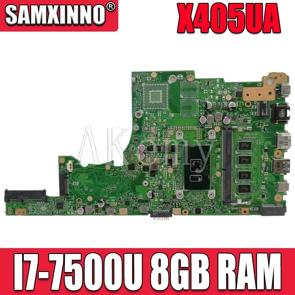 Akemy X405UA Pour For Asus X405U X405UN X405UR X405URR X405URP X405UQ X405UF Ordinateur Portable Carte Mère X405UA Carte Mère W/I7-7500U 8 GO de RAM