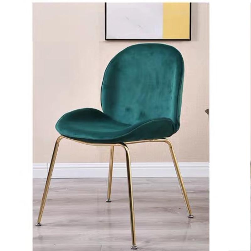 Silla de mesa de comedor con terciopelo de franela, silla de cocina con pies de acero inoxidable, silla familiar moderna suave verde oscuro