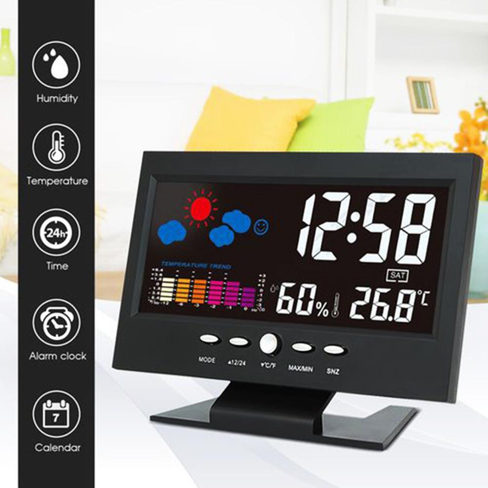 new LCD Color Screen Digital USB Temperature Humidity Time Date Display Alarm Clock
