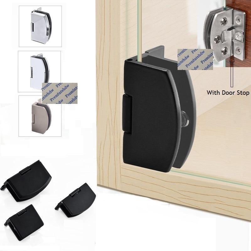 4Pcs/Lot Frameless Glass Door Hinge Wine Cabinet Cupboard display showcase No Drilling Zinc Stainless Steel Cast Chrome Black