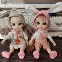 bjd dolls 16cm 13 movable joints 3d real eye high end dress can dress up fashion nude doll children diy girl toy best gift