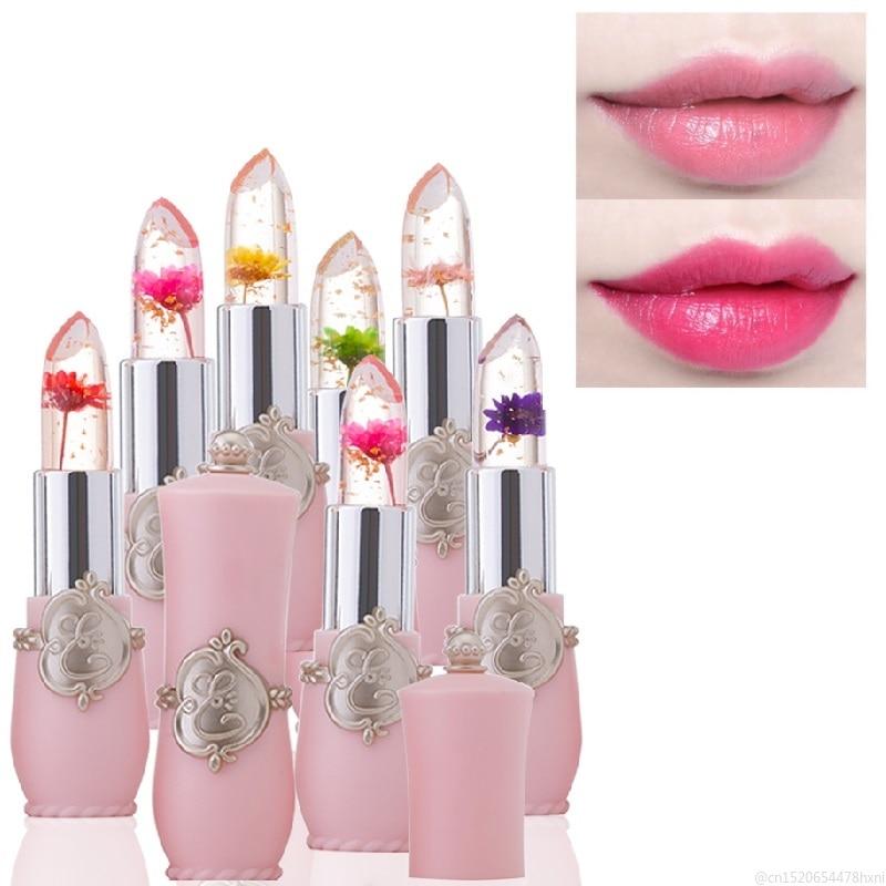 Цветок кристалл желе губная помада Волшебная Температура Изменение Цвета бальзам для губ увлажняющий длительный красота Помада Макияж TSLM1