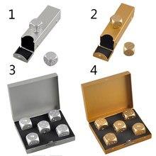 الترفيه الفضة الذهب اللون الصلبة سبائك الألومنيوم الدومينو المعادن شرب النرد لعبة المحمولة النرد لعبة البوكر