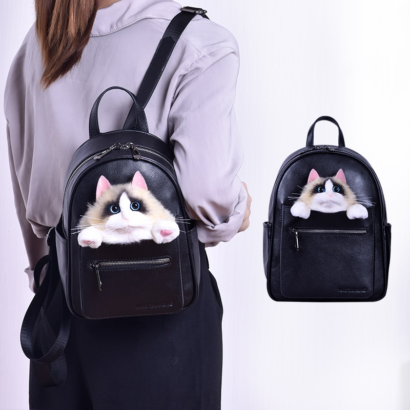 Hot Women Backpacks Designer High Quality Soft Leather Fashion Back Bag Brand Female Travel Bags Cute Cat Backbags