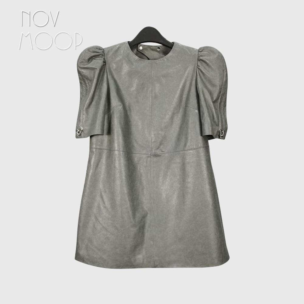 Novmoop-Vestido de cuero auténtico con manga abombada para mujer, prenda sexy con agujeros en la espalda, LT3474